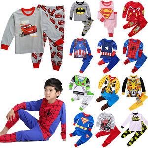 Kids-Superhero-Cartoon-Outfit-Baby-Boys-Girls-Pajamas-Cosplay-Sets-Pjs-Nightwear