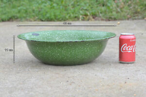 old-enamelled-enamel-washing-bowl-shabby-bath-chic-40-cm-FREE-POSTAGE