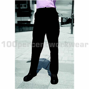 Warrior-Ladies-Womens-Polycotton-Work-Trousers-Sewn-Front-Seam-Navy-Blue-Black