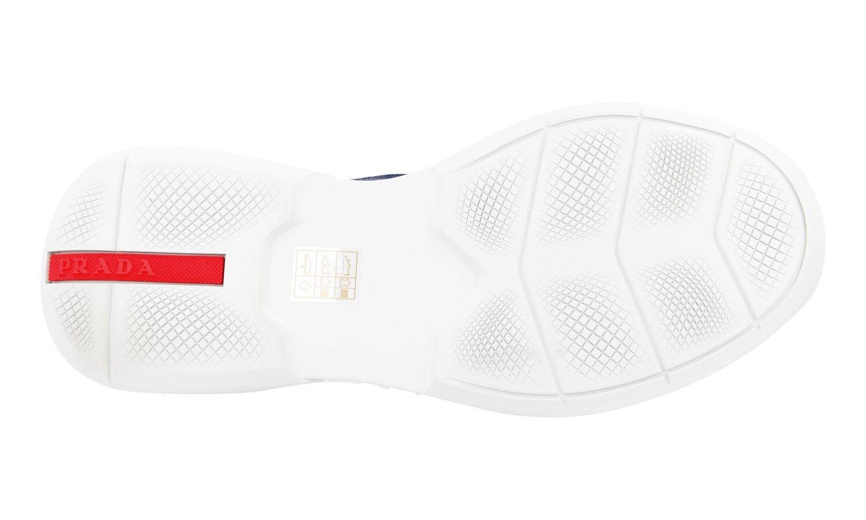 LUXUS PRADA SNEAKER Zapatos 4E2816 BLAU SILBER NEU NEU NEU NEW 11 45 45,5 953a47