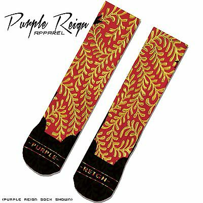 "ALL SZ RED GOLD NIKE AIR FOAMPOSITE PENNY /""SUPREME/"" Custom Nike Elite Socks"