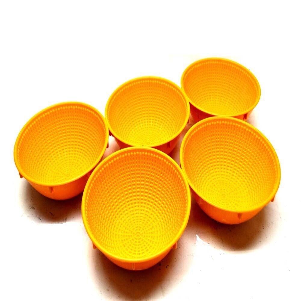 (5) Thermohauser 48719 Round Orange Bread Dough Mixing Plastic Bowls 1000g