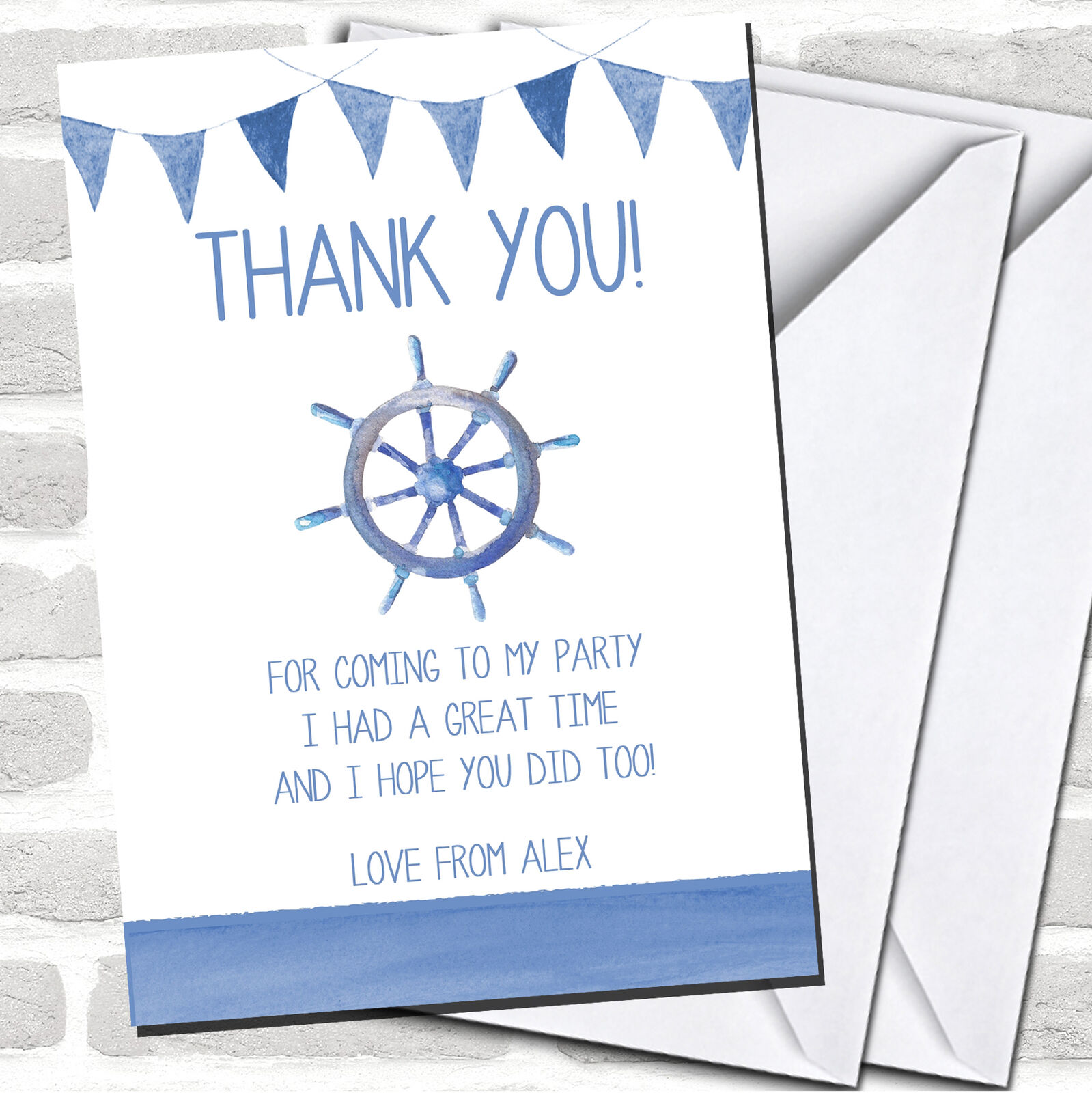 Blau Bunting Nautical Beach Party Thank You Cards