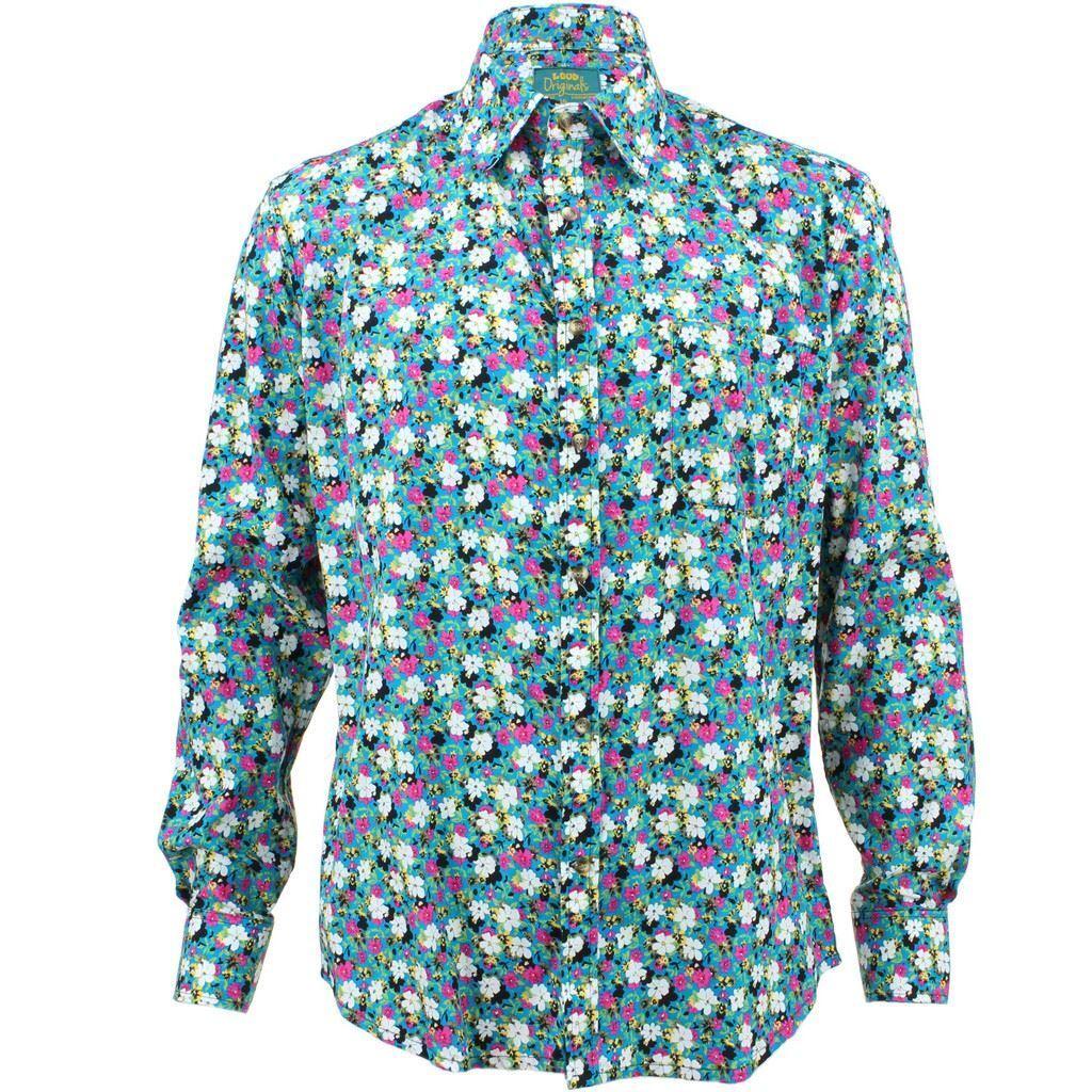 Mens Loud Shirt Retro Psychedelic Funky Party TAILGoldt FIT Floral Blau  | Am wirtschaftlichsten  | Neuartiges Design  | Sonderaktionen zum Jahresende