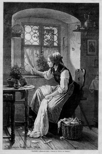 YOUNG WOMAN WAITING BY HER WINDOW ANTIQUE WOOD-CUT ENGRAVING 1874 FASHION