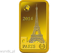 SOLOMON ISLANDS 2014 10 $ Dollars PARIS gold bar 1g 9999 UNC barren