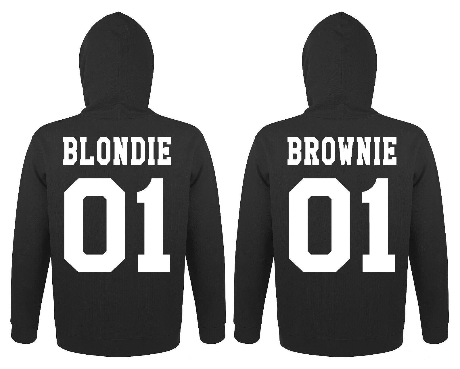 Blondie Braunie BFF Hoodie Pullover mit Wunschzahl Best Friends Queen Sister