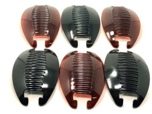 Black-Brown 6set Banana Comb Clip Thick Hair Riser Claw Interlocking Jaw Extra .