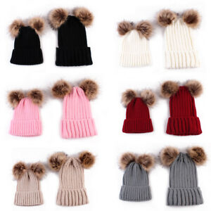 😍😍Mum Mom Baby child Matching Pair Kitted Cotton Wooly 2 Pompom ... 00e9d8b4706
