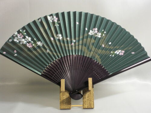 "Bamboo Folding Fan ""Sakura on Green"" Japanese Fan Oumi Sensu Handmade New"