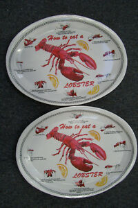 Image is loading Set-Of-2-How-To-Eat-A-Lobster- & Set Of 2 How To Eat A Lobster 8 Easy Steps Plates 13\