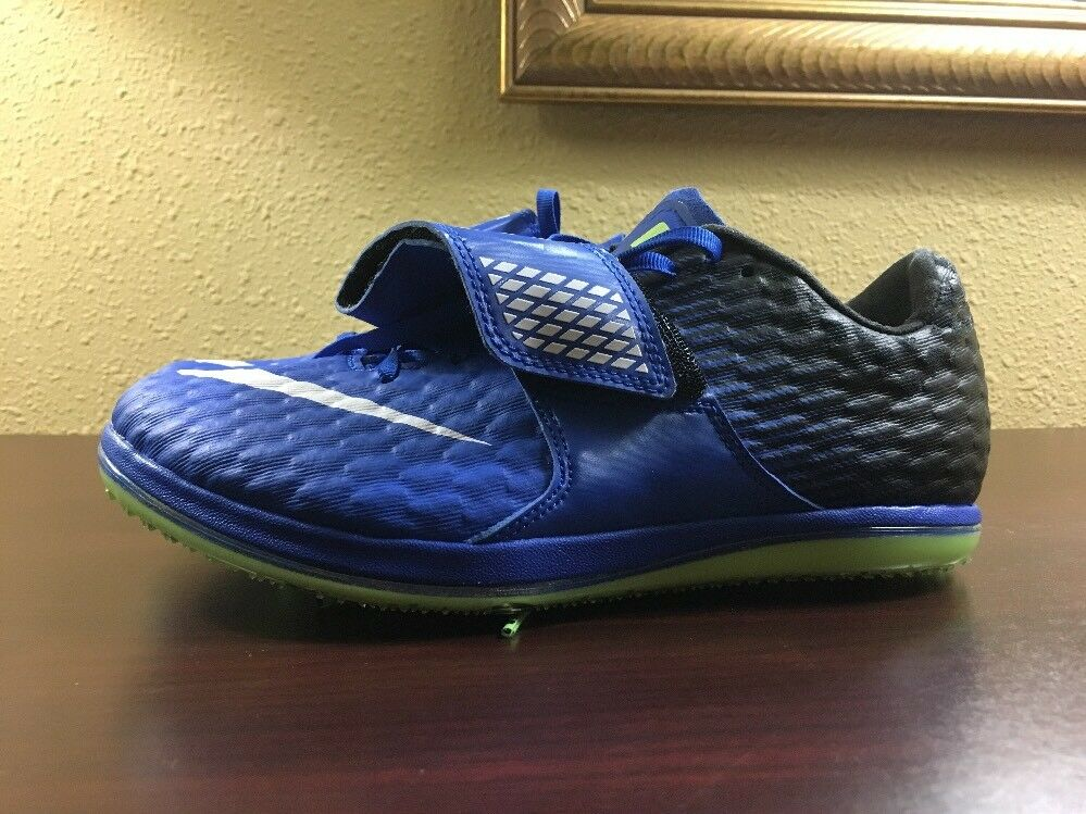 Nike Zoom High Jump Elite Spikes Shoes Mens Size 5.5 Black Blue 806561-413 NEW