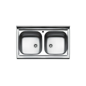 Dettagli su lavello inox 2 vasche da appoggio 80x50 Mondial CM