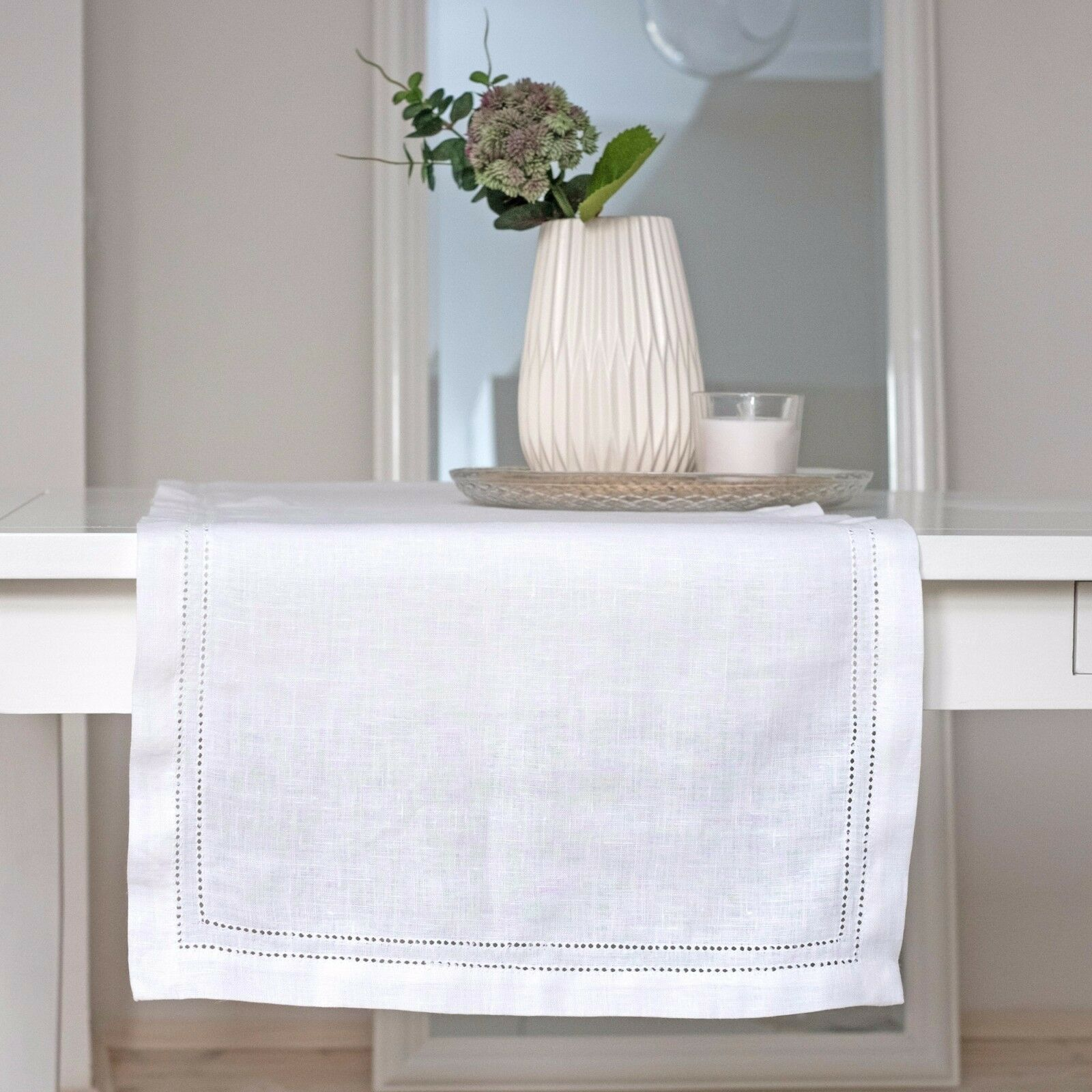 Leinen Tischläufer Läufer Tischtuch Hohlsaum - Weiss L 150, 180, 200 cm | Die Königin Der Qualität