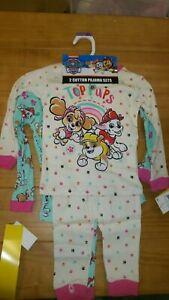 2-Sets-Girls-Size-2T-Paw-patrol-4-pice-Pajamas-PJ-Set