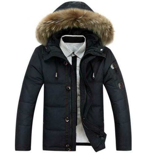 Winter Men/'s down jacket coat thick warm hooded padded jacket fur outwear coats