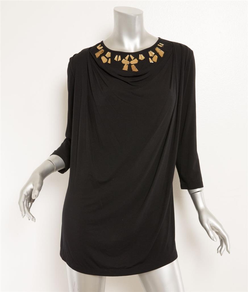 Givenchy Schwarz Drapiert Verziert Gold Strass Kristall 3 4-Sleeve Hemd M