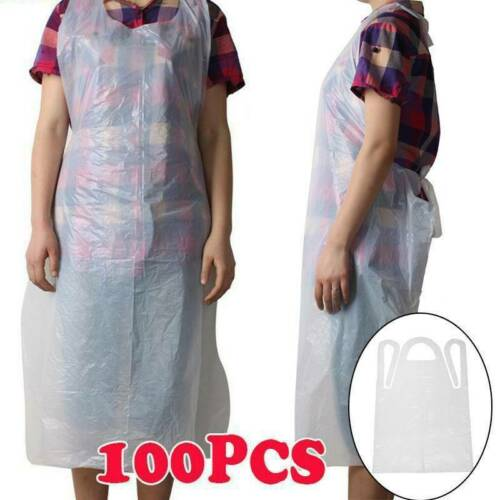 10//50//100pcs Disposable Plastic Aprons Polythene Aprons Eco Flat Pack New