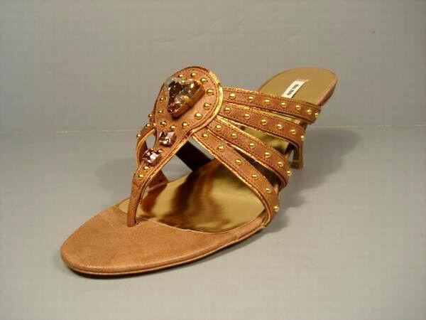 Miu Miu Prada 39/9 Brown Leather Topaz Stone Thong Sandals Medium Heel Authentic
