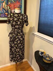 1940/'s Cold Rayon Geometric Print Day Dress  Size Medium