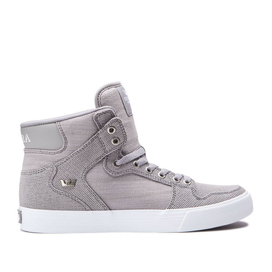 Supra Vaider Grey White LIfestyle High Top shoes 08204 210 Men's Size 8