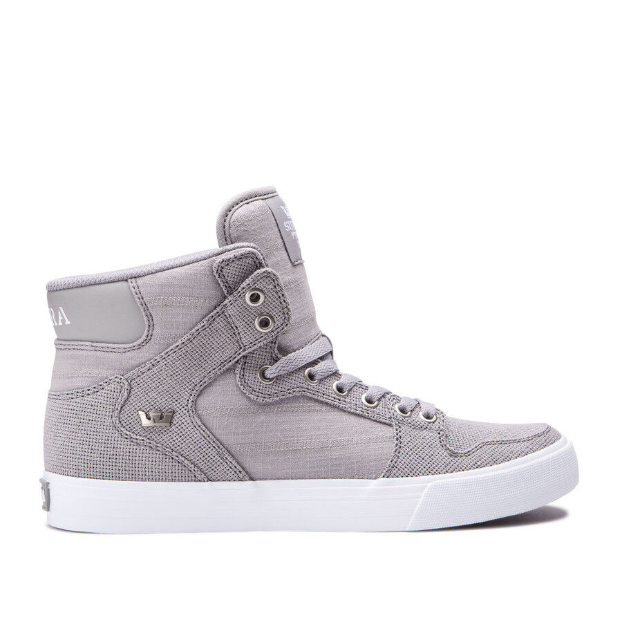 Supra Vaider Grey White LIfestyle High Top shoes 08204 210 Mens Size 7.5
