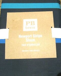 Pottery-Barn-Teen-Newport-Stripe-Standard-Sham-Navy-Blue-Orange-Green-26x20-NIP