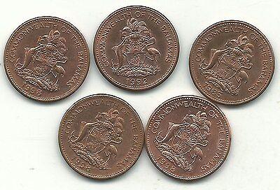 brass 100 Bahamas Starfish 1998 Coins,1 Cent KM59a Uncirculated lot,Copper Zinc