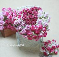 50 Mix Pink Rose Scrapbook Craft Mulberry Paper Flower Wedding Card Decor 12mm.