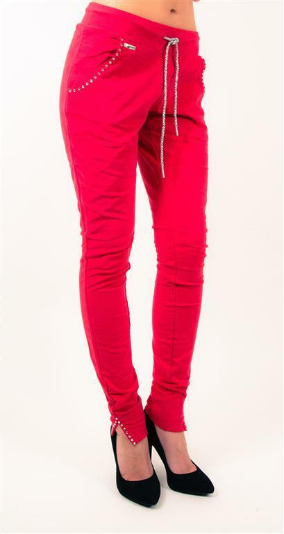 MET in Jeans Norageki Knitted Pants Stretch w rhinestones in Red