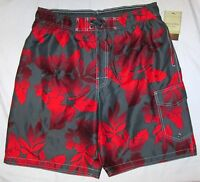 Sonoma Swim Bathing Suit Trunks Gray Red Hibiscus Print 4 Pockets Poly Mens