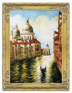 Painting-Venice-Port-Handmade-Ship-Oil-Painting-Picture-Oil-Frame-Pictures-15602