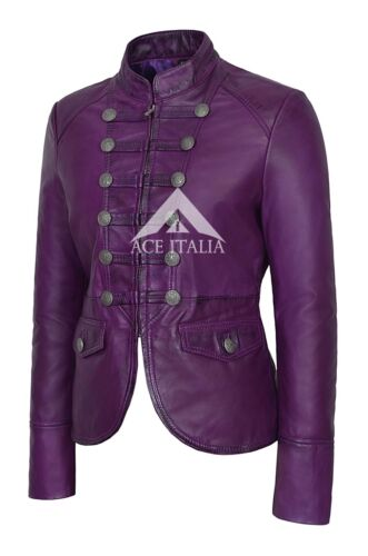 'sejr' 100 Soft Ladies Lilla Napa Leather Jacket Military Real Parade Style w0AHZwq