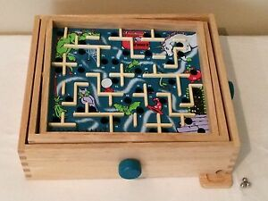 Wooden Labyrinth Tilting Maze Board Game With Balls