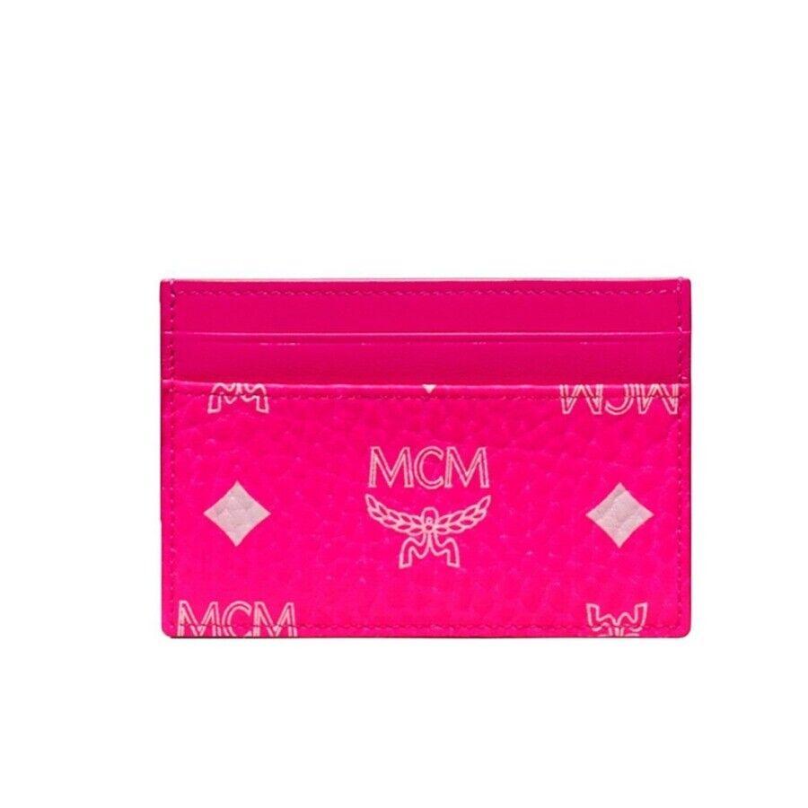 Y-1470962 Neuf MCM Visetos Rose Monogramme 4-slot Crédit Carte Etui Support Étui