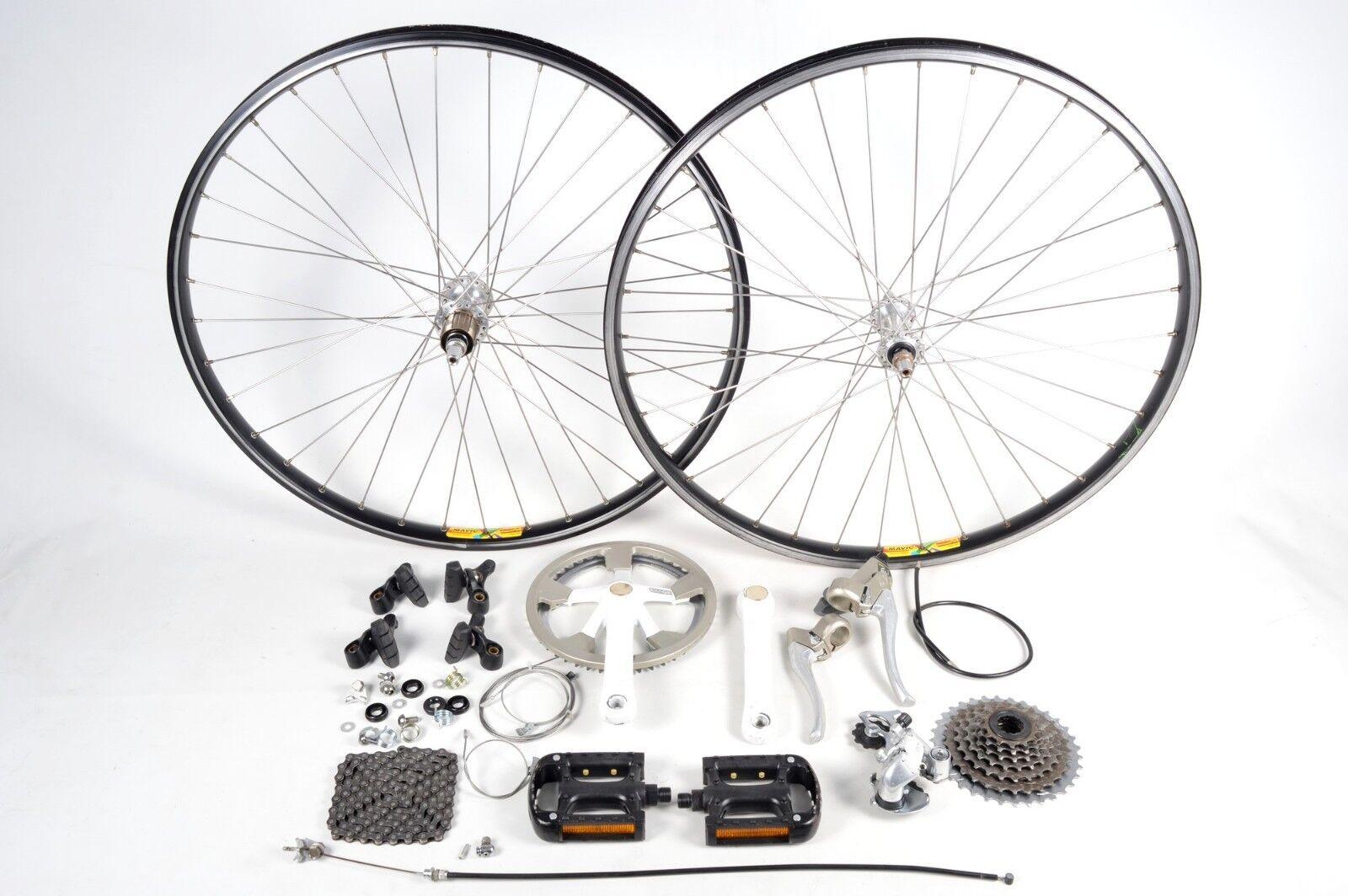 Shimano Exage Bicycle Groupset 7 Speed Crankset Brakes Pedals Mavic 26  Wheelset