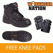 Worksite Ss604sm Black Leather Safety Hiking Work Boot Anti Static Free Knee Pad