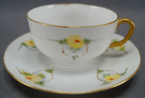 Carl-Tielsch-Hand-Painted-Yellow-Rose-amp-Thorn-Rings-Tea-Cup-amp-Saucer-C-1900-25