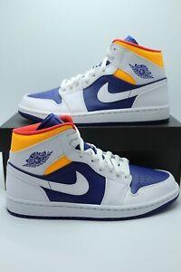 Nike Air Jordan 1 Mid Laser Orange Deep Royal Blue 554725-131 ...