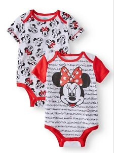 0722c2b74 Disney Minnie Mouse 2 Pack One Piece Bodysuit Infant Baby Girl Size ...