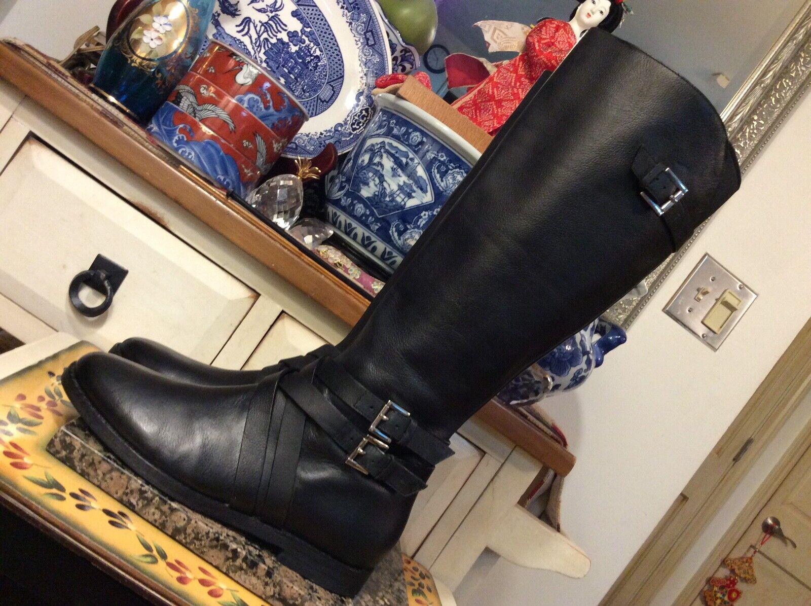 Seleccione de las marcas más nuevas como Cole Haan Haan Haan Alto botas Negro Cuero Equitación Ecuestre hebilla para mujer B, usado en excelente estado  barato en línea
