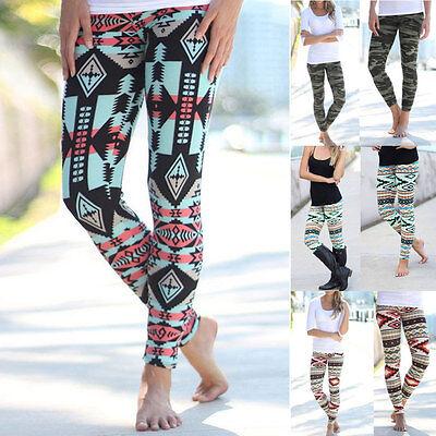 Women Floral Printed Skinny Full Length Stretchy Trouser Leggings Jeggings Pants