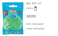 501-47 Hama Beads MINI verde pastel,pastel green 2000 piezas