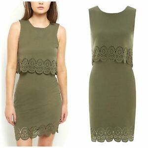 New-Look-Olive-Green-Double-Layered-Dress-Size-6-8-10-12-14-16-18