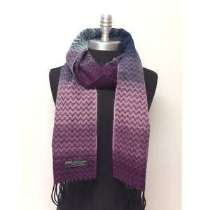 New-Women-039-s-100-Cashmere-Scarf-Wrap-SCOTLAND-Chevron-Purple-pink-Blue-Black