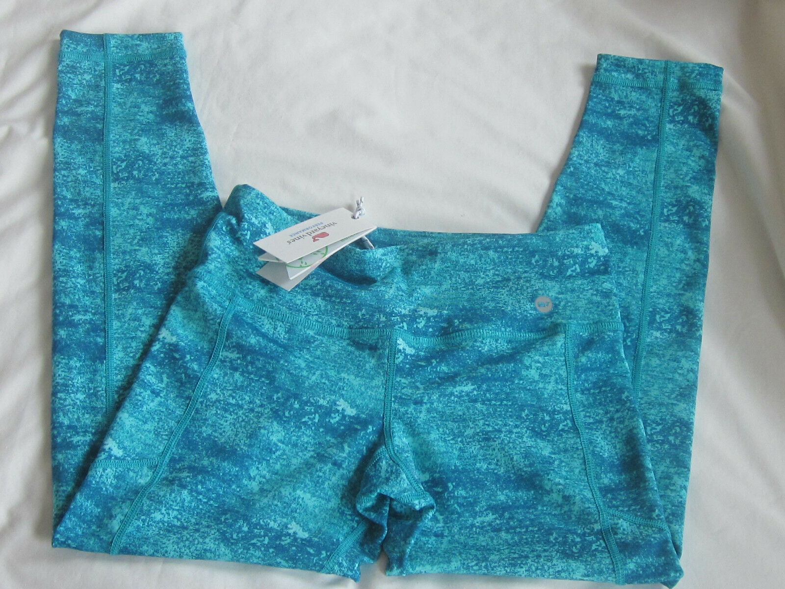 NEW Vineyard Vines XS Watercolor Aqua Performance Compression Leggings UPF30 NWT