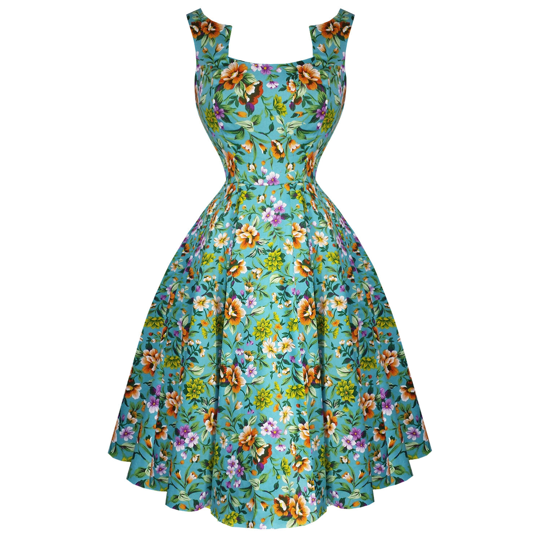 Hearts & pinks London Turquoise bluee Floral Retro 1950s Flared Tea Dress UK