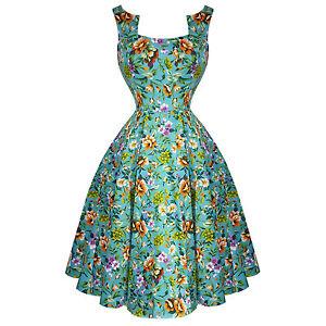 Hearts-amp-Roses-London-Turquoise-Blue-Floral-Retro-1950s-Flared-Tea-Dress-UK