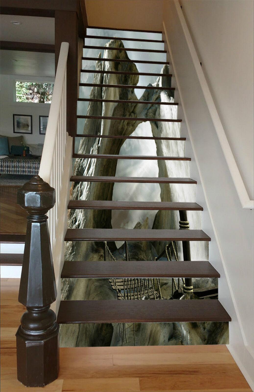 3D Bergspitze 225 Stair Risers Dekoration Fototapete Vinyl Aufkleber Tapete DE