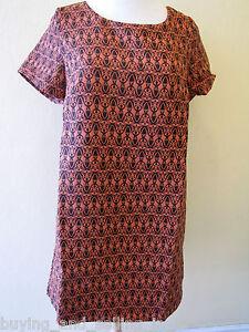 Brand-New-WHITE-CLOSET-Black-and-Orange-Shift-Dress-Tunic-sizes-8-10-12